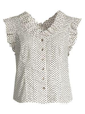Buy La Vie Rebecca Taylor Corinne Sleeveless Polka Dot Top PEARL online