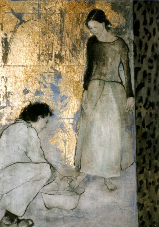 """How can we serve our fellow beings? this beautiful painting captures one of the most humble treatments one can give to another. What if we thought of such kindness when someone has wronged, or someone is sad, or lonely... Saatchi Online Artist: Val Wolstenholme Clay; Oil, 2009, Painting """"Devotion"""""""