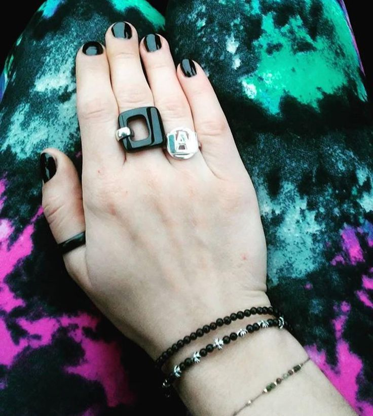 So proud of our Ola @jewellerette  #HamOnt you gotta check out her account! ;) Repost @jewellerette (@get_repost)  Just a post appreciating a set I fancy lately Black onyx band and ring from @westdale_jewellers   #bokunoheroacademia U.A. silver ring and double strand black onyx-silver bracelet by me! :>  Faceted precious gem and gold beads on silk - gift from mom