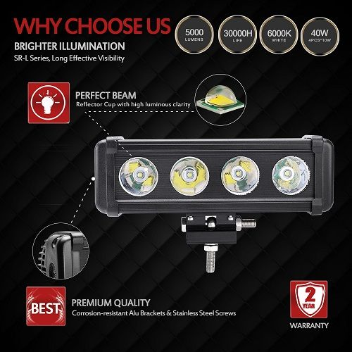 """MICTUNING 40w 8"""" Cree Single Row LED Light Bar Spot Beam for Off Road"""