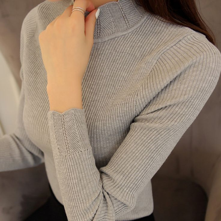 2017 Korean Fashion Women Sweaters and Pullovers Sueter Mujer Ruffled Sleeve Turtleneck Solid Slim Sexy Elastic. Click visit to buy