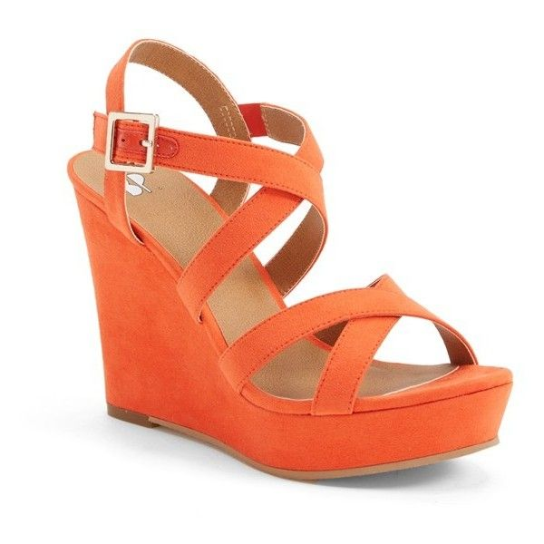 "BP. 'Summers' Wedge Sandal, 4"" heel (120 BAM) ❤ liked on Polyvore featuring shoes, sandals, heels, wedges, orange, wedge sandals, orange wedge sandals, high heel platform sandals, platform heel sandals and summer sandals"