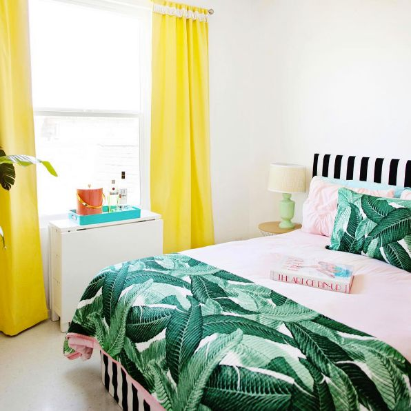 bright colors + patterns make for a playful bedroom.
