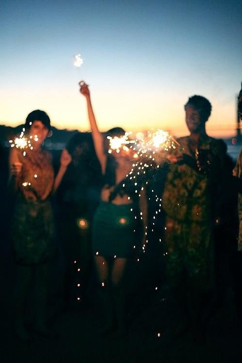 Light some sparklers-- just for fun. #beach #night