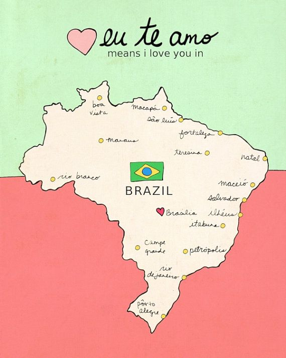 I Love You in Brazil // Typographic Print, Nursery Art, Map, Chart, Illustration, Children Decor, Typography Poster, Digital, Giclee
