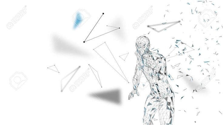 Conceptual abstract man shouting to someone. Connected lines, dots, triangles, particles on white background. Artificial intelligence concept. High te…