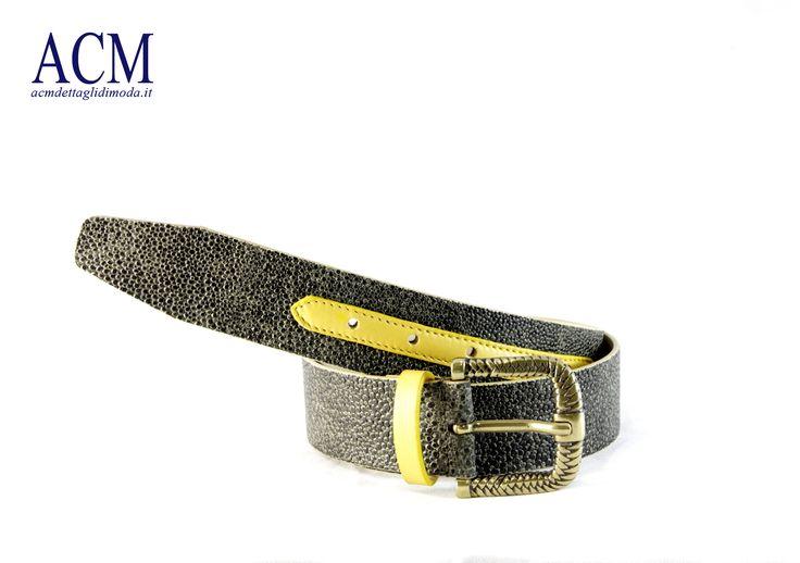 Cintura donna in vera pelle con inserto a contrasto e fibbia invecchiata #woman #leather #belt