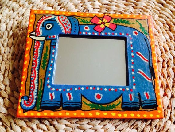 Handpainted mirror frame madhubani. Indian decor . Indian mirrors