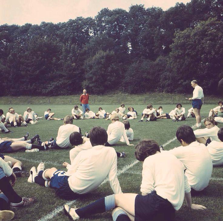 Bill Nicholson taking a training session, Cheshunt, 1971
