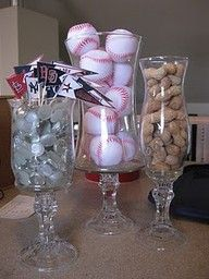 baseball centerpieces - Google Search. Great idea for man cave decor. My step dad would love this if this was hockey (would be cute baby boy shower decor!)