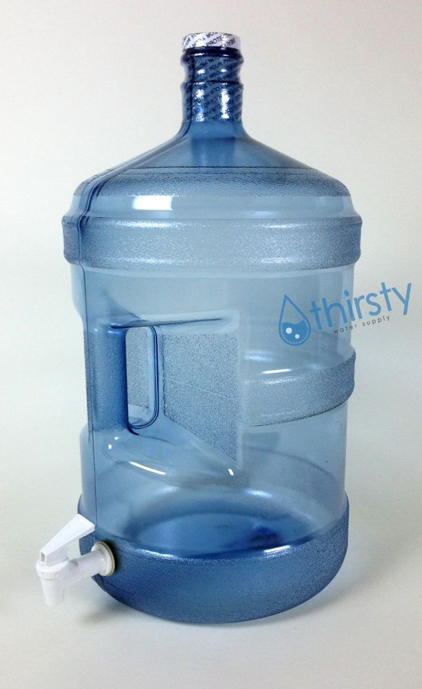 5 Gallon Polycarbonate Reusable Water Bottle With Spigot Faucet Made In Usa Bottle Gallon Water Bottle Blue Water Bottles