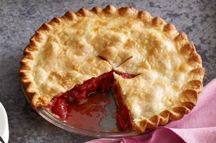 Strawberry Rhubarb Pie! - There was no rhubarb at the store, so I used frozen raspberries and it turned out really nice! Next time though, I need to put a larger pan under the pie since it was too full and spilled out over the baking sheet it was on and got all over the bottom of my oven.