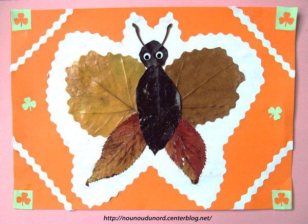 Papillon réalisé avec des feuilles d'automne