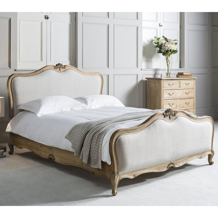 Gallery Chic Super King Linen Upholstered Bed In Weathered