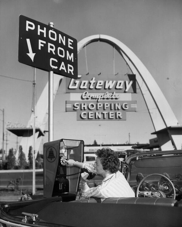 Modern Conveniences 1959 Make a phone call in the comfort of your car! - Via