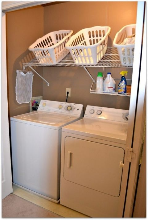 laundry organization but instead of buckets other stuff