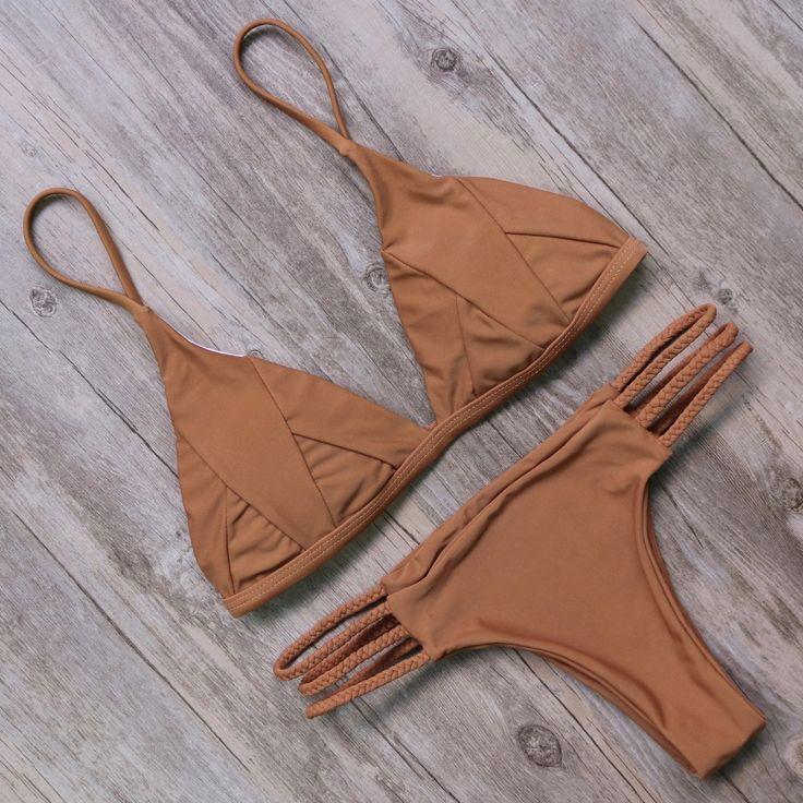 Sexy Brown Triangle Top Bottom Push-up Bikini Set - CN Bikinis Store