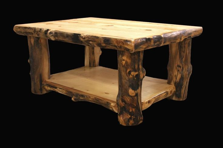 Log Coffee Table - Country Western Rustic Cabin Wood Table Living Room Decor  #Country