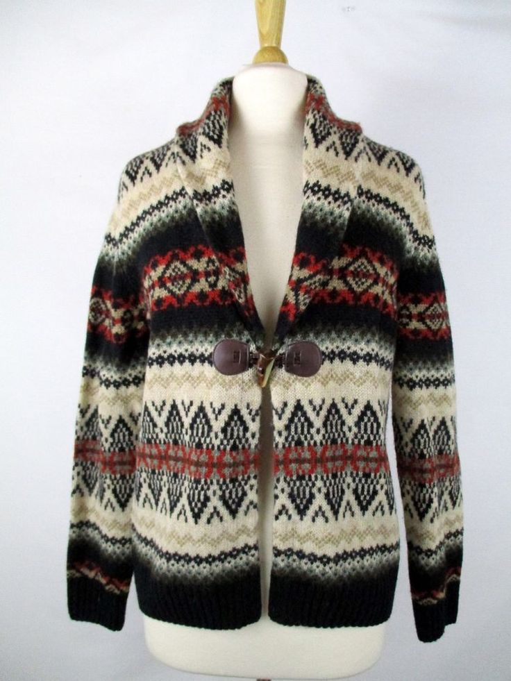 Susan Bristol Wool Fair Isle Nordic Toggle Button Cardigan Sweater M Medium #NordwearofLatvia #Tunic