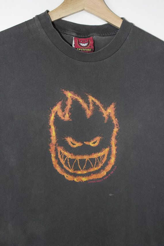 701f6ef0d0 thrashed vintage spitfire wheels flame logo cut off t shirt - 90s - flames  logo - skateboarding