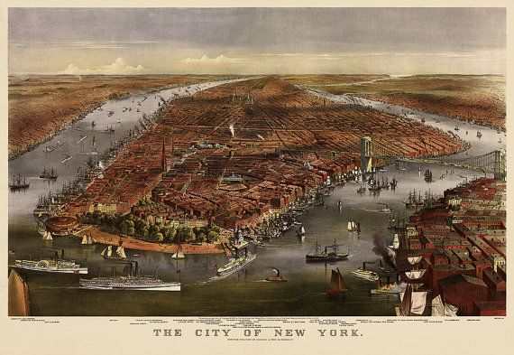 Antike Karte von New York City (1870) von Currier und Ives - Archivierung Reproductiom