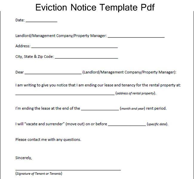 sample eviction notice template pdf