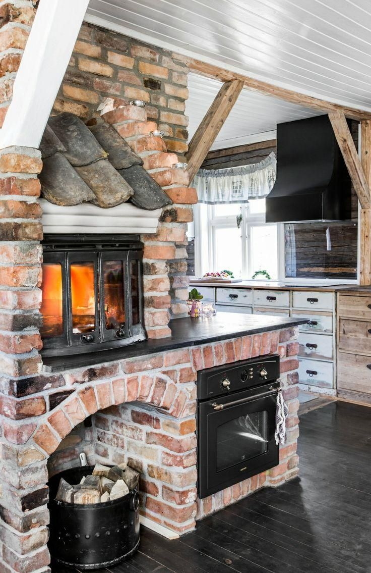 country kitchen, fireplace, shingles, exposed brick