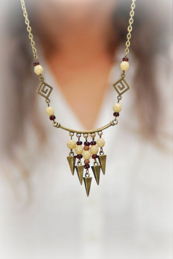 Hey, I found this really awesome Etsy listing at https://www.etsy.com/listing/238650958/rustic-beige-necklace-spike-necklace