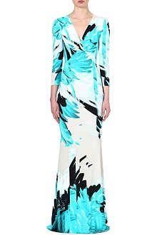 ROBERTO CAVALLI Feather-print gown