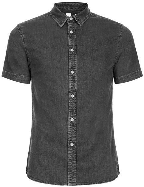 Topman Gray Muscle Fit Short Sleeve Denim Shirt