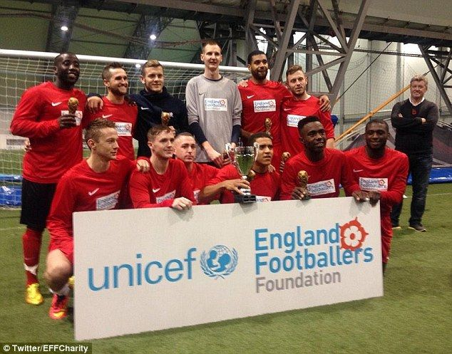 Jack Wilshere (back row, third from left) celebrates with his victorious Jack the Lads FC side on Thursday