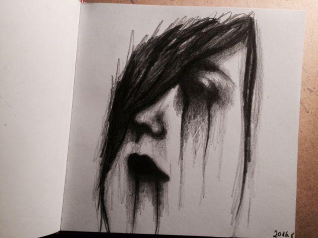 Drow, drowing, deepdrow, art, artist, artmood, artlife, drowlife, face, girl, cry, dark