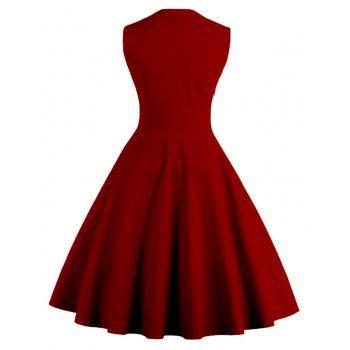 Midi Polka Dot Prom Dress (WINE RED,4XL) in Vintage Dresses | DressLily.com