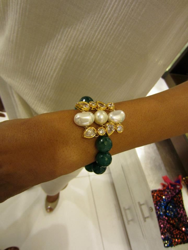 Taara Jewels Bracelet - Kundan, Pearl and Emerald. Bessht
