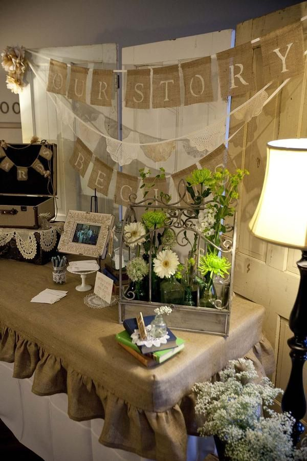 burlap wedding decorations | Found on hwtm.com