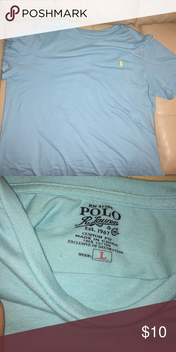 Men's Polo t-shirt Light blue with yellow Polo symbol. Worn a few times. Polo by Ralph Lauren Shirts Tees - Short Sleeve