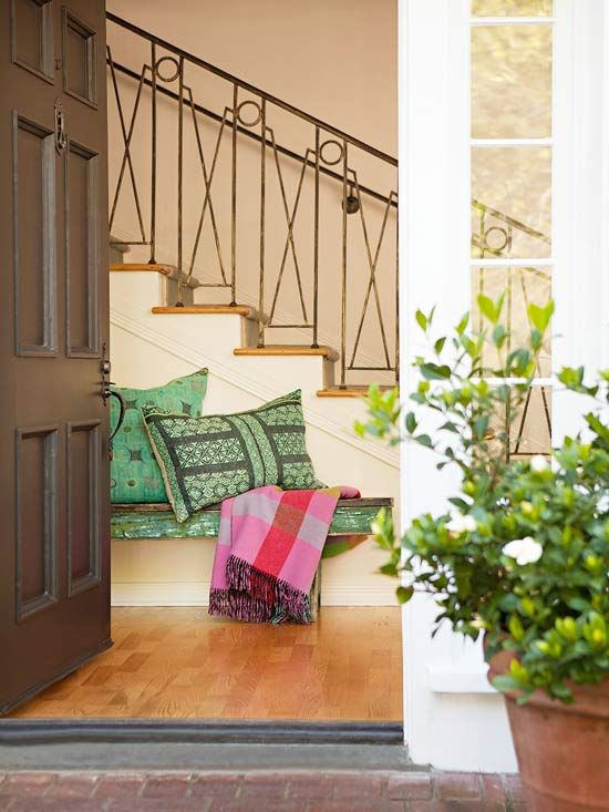 stair railing, global inspired textiles