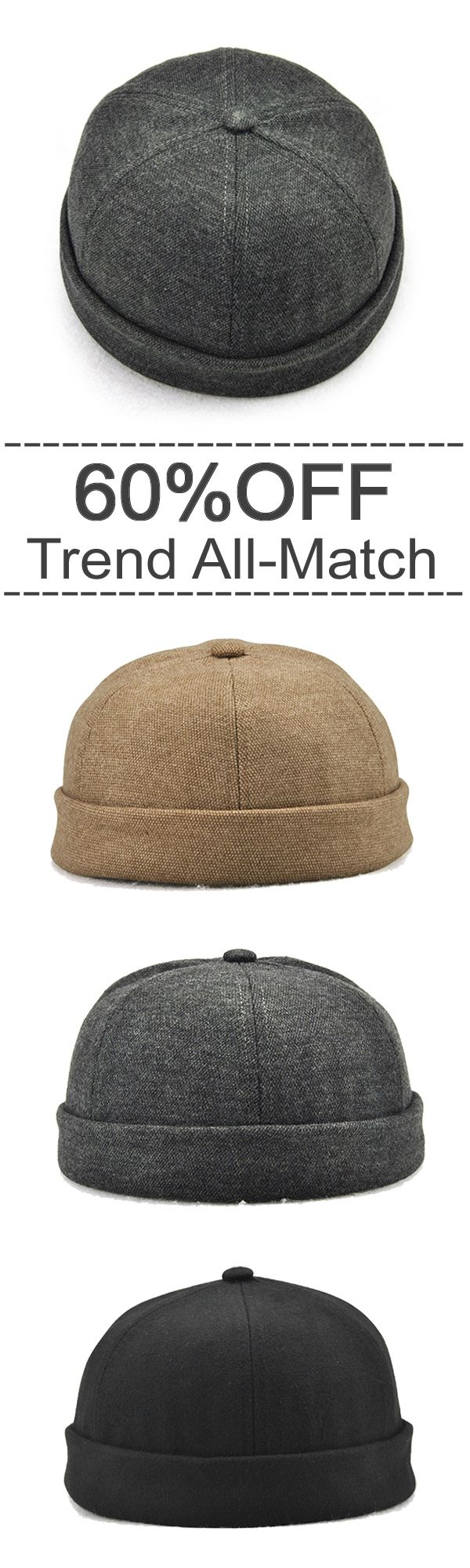 60%OFF&Free shipping. Trend All-Match, Vintage Solid Skullcap, Sailor Cap, Warm Rolled Cuff Bucket Cap. Colors: Black, Grey, Blue, Beige. Shop now~