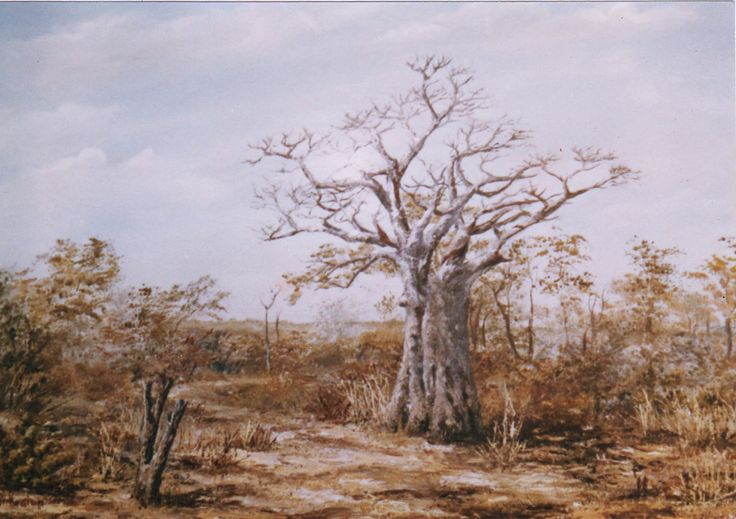 The famous Baobab on the road to Kariba - Zimbabwe - Oil on Canvas by Dinah Beaton
