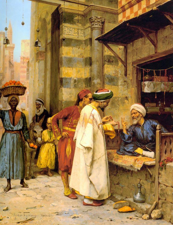Egypt , Old Cairo Paintings: Arthur von Ferraris (Hungarian, 1856-1936) - Driving a Bargain , 1856