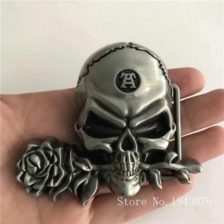 3D Silver Rose Skull Cowboy Belt Buckle For 4cm Wideth Belt