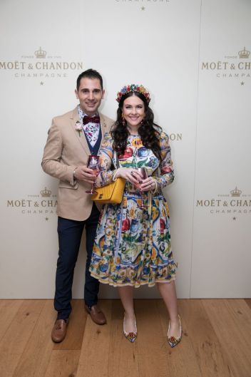 Tristan Cassar and Viktoria Novak at the Moet & Chandon race day at the Royal Randwick racecourse.