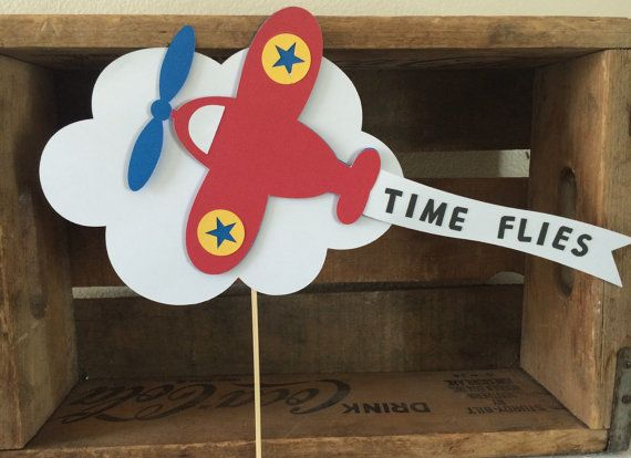 Airplane birthday cake topper poke  Time flies by BBAHomemade