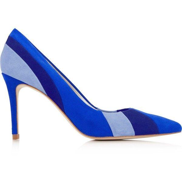 Karen Millen Suede Stripe Court Shoes (785 RON) ❤ liked on Polyvore featuring shoes, pumps, blue, blue suede shoes, karen millen, blue suede pumps, stripe shoes and karen millen shoes