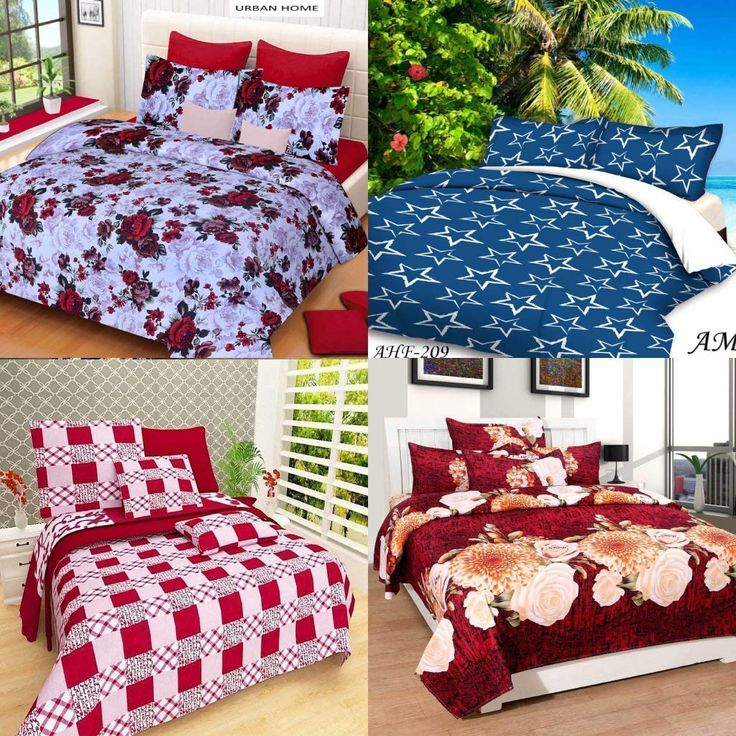 Cotton Floral Printed Double Combo Bedsheet with Pillow