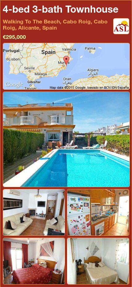 4-bed 3-bath Townhouse in Walking To The Beach, Cabo Roig, Cabo Roig, Alicante, Spain ►€295,000 #PropertyForSaleInSpain