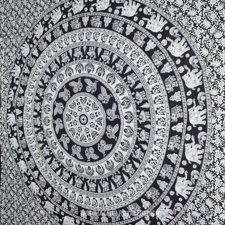 Black and White Indian Elephant Mandala Tapestry Wall Hanging Hippie Bedspread on RoyalFurnish.com, $18.45