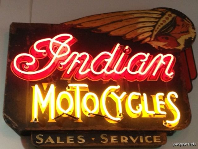 Amazing vintage Indian Motocycles Neon Sign.  You can see it in person at the Wally Parks NHRA Museum. http://museum.nhra.com/ #indian #motorcycles