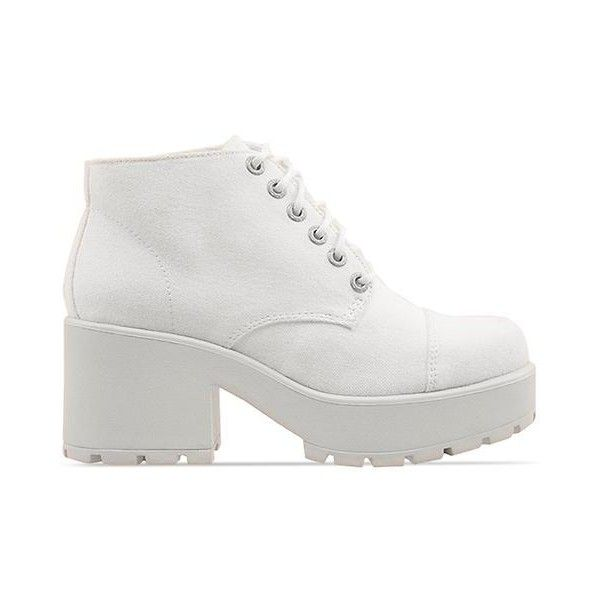 Vagabond Dioon 180 (265 BRL) ❤ liked on Polyvore featuring shoes, boots, ankle booties, white, perrie, off white, platform boots, faux leather booties, mid heel booties and white boots
