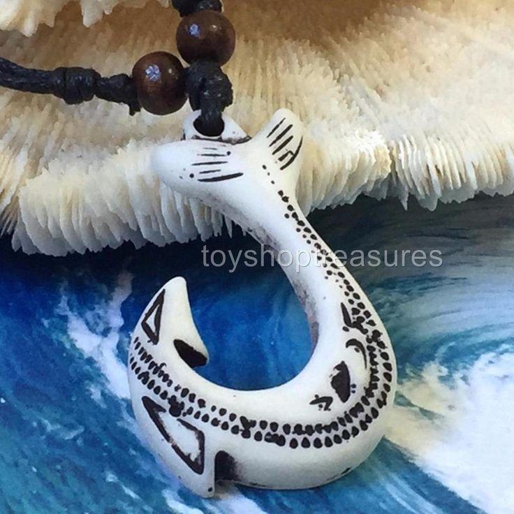New Tribal Hawaiian Whale Tail Makau Faux Bone Necklace - Endurance - Prosperity
